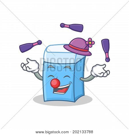 Juggling eraser character mascot style vector illustration