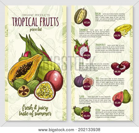 Exotic tropical fruits price list poster template for fruit store or market. Vector design of durian, carambola starfruit or dragon fruit and lychee, fresh fig or guava and feijoa tropic fruit harvest