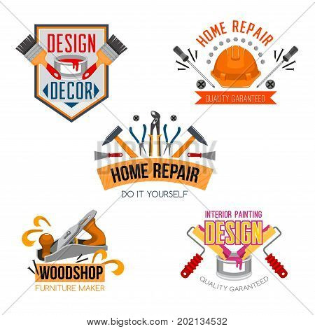 Work tools icons set for home design and house repair. Vector isolated symbols of paint brush, safety helmet or hammer and woodwork grinder plane, plastering rolls and rolls or screwdriver and toolbox