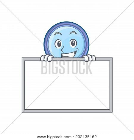 Grinning with board magnifying glass character cartoon vector illustration