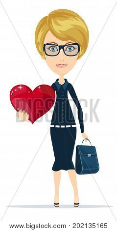 Woman with the heart. Stock vector illustration for poster, greeting card, website, ad, business presentation, advertisement design.
