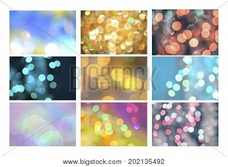 Set Of Natural Blur Bokeh Backgrounds.