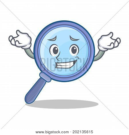 Grinning magnifying glass character cartoon vector illustration