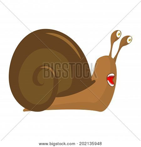 Snail cartoon style isolated. Insect with shell. Gastropod mollusk with spiral shell