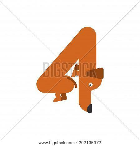 Figure 4 Dog. Dachshund Font Four. Home Pet Abc Symbol. Home Animal An Alphabet Sign