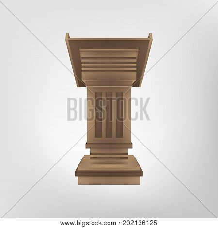 Podium tribune rostrum vector microphone speaker conference isolated illustration speech stage icon realistic