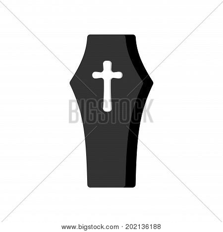 Coffin Isolated. Casket on White Background. Religion Object