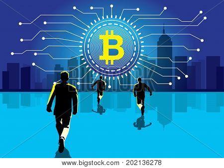 An illustration of businessman walking towards big digital currency