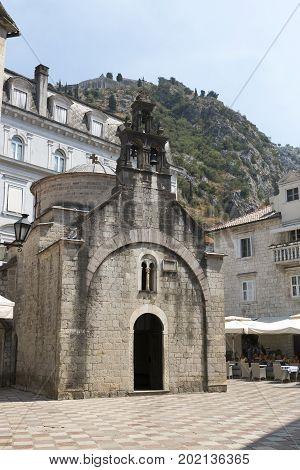 PERAST, MONTENEGRO - AUGUST 04, 2017:Church of St. Luke in the city of Kotor Montenegro.