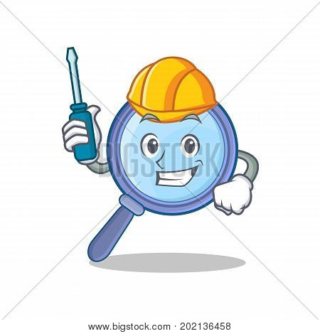 Automotive magnifying glass character cartoon vector illustration