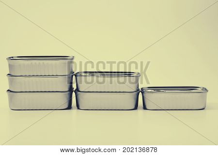 close up food tin can on the yellow background