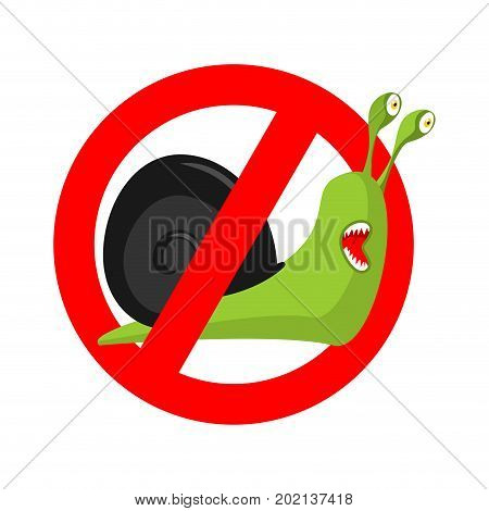 Stop Snail. Prohibited Insect Pest. Red Prohibitory Sign