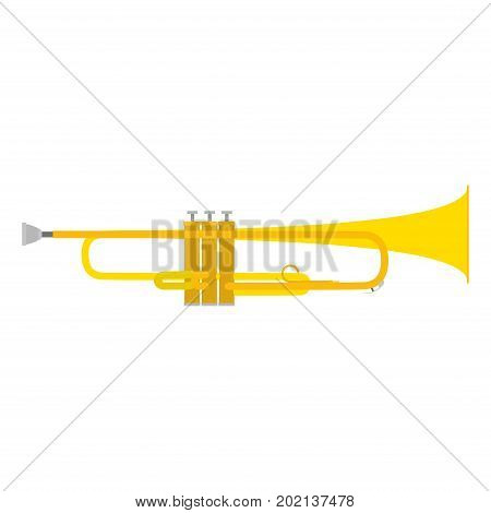 Trumpet vector icon illustration brass horn music musical instrument isolated white bugle sound