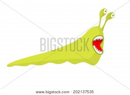 Slug Isolated. Green Monster Insect Pests. Worm Parasite With Teeth
