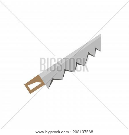 Vector hand saw icon stock illustration flat design side view hacksaw isolated