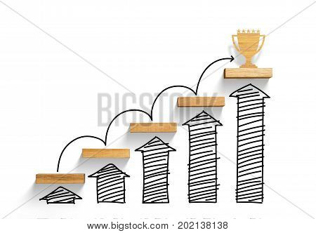 Wooden staircase to reach goal and win trophy with increase graph and arrow, successful