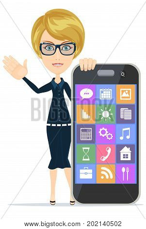 Smiling woman with smartphone standing on white background.. Stock vector illustration for poster, greeting card, website, ad, business presentation, advertisement design.