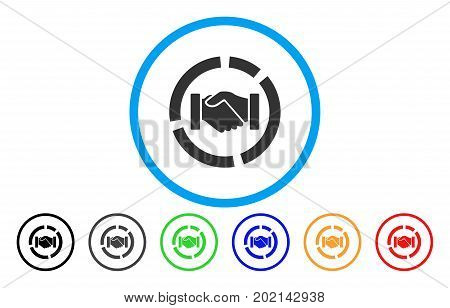 Cooperation Handshake Diagram vector rounded icon. Image style is a flat gray icon symbol inside a blue circle. Additional color variants are grey, black, blue, green, red, orange.