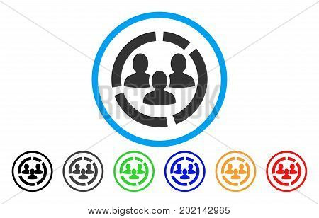 Demography Diagram vector rounded icon. Image style is a flat gray icon symbol inside a blue circle. Additional color variants are grey, black, blue, green, red, orange.