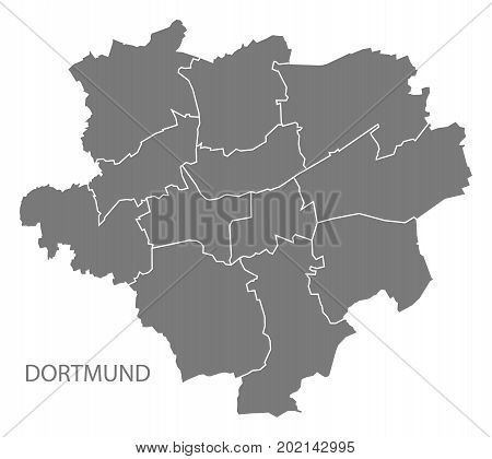 Dortmund City Map With Boroughs Grey Illustration Silhouette Shape