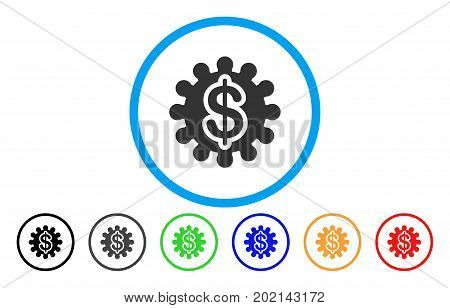 Payment Options Gear vector rounded icon. Image style is a flat gray icon symbol inside a blue circle. Additional color versions are gray, black, blue, green, red, orange.