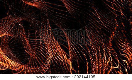 Abstract background with orange flowing particles. 3d rendering.