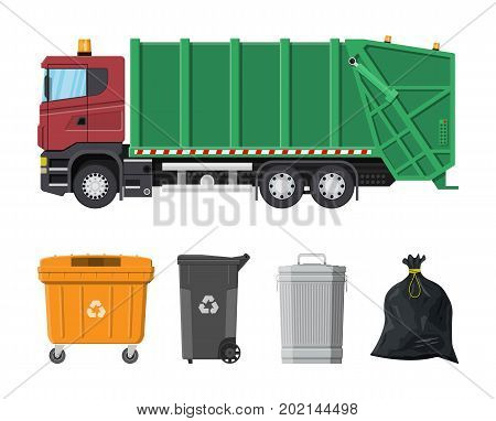 Truck for assembling and transportation garbage. Car waste disposal. Can container, bag and bucket for garbage. Recycling and utilization equipment. Waste management. Vector illustration in flat style