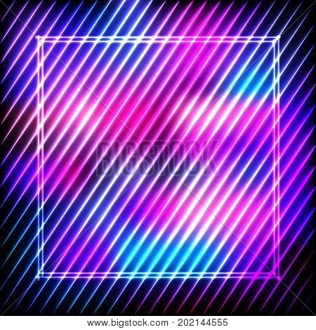 Colorful neon square frame on a dark background, abstract illustration.