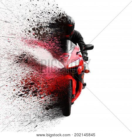 The Rider On The Red Sport Motorcycle Helmet With A Black Visor. Shatters Into Spray. Isolated On Wh
