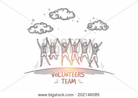 Vegan concept. Hand drawn group of happy volunteers celebrating success. Community of people doing charity isolated vector illustration.