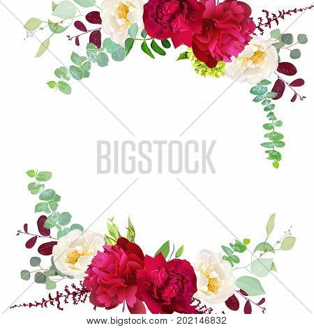 Elegant autumn round floral bouquet vector design frame. Burgundy red peony, white wild rose, red and green leaves, eucalyptus. Seasonal wedding save the date. All elements are isolated and editable.