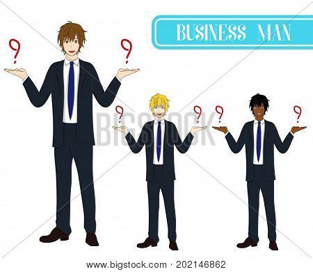Set Handsome Business Man Making Selection with Happy Face. Full Body Vector Illustration. isolated on White Background