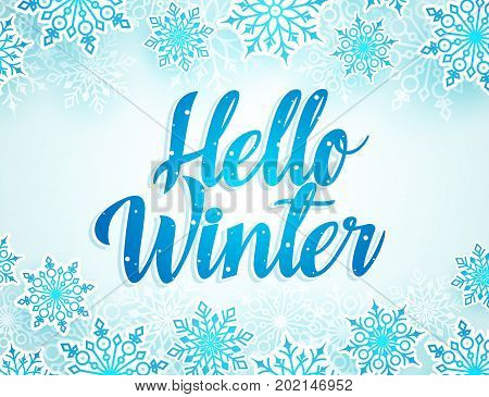 Hello winter vector greetings design with blue typography and snow flakes elements in white background for winter season. Vector illustration.