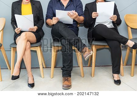 Business people waiting for job interviewStressful people waiting for job interview