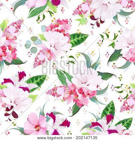 Exotic tropical floral bouquets of white layered and pink hibiscus, medinilla, orchid, hydrangea flowers seamless vector print. Rainbow round confetti backdrop. All elements are isolated and editable.