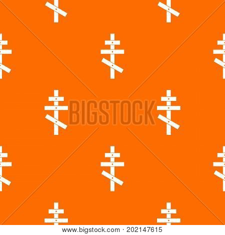 Orthodox cross pattern repeat seamless in orange color for any design. Vector geometric illustration