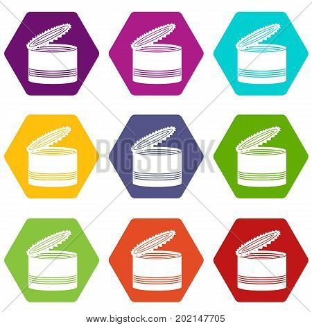 Open tin can icon set many color hexahedron isolated on white vector illustration
