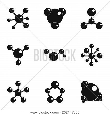 Molecular chemistry icons set. Simple illustration of 9 molecular chemistry vector icons for web design