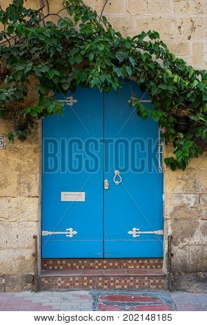 Traditional Wooden Painted Blue Door In Malta