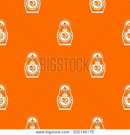 Matryoshka pattern repeat seamless in orange color for any design. Vector geometric illustration