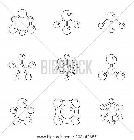 Molecular chemistry icons set. Cartoon illustration of 9 molecular chemistry vector icons for web design