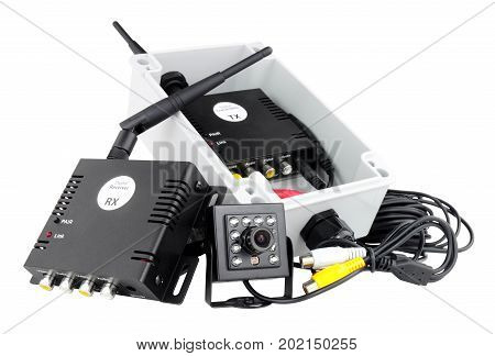 Mini wireless digital camera system with transmitter and receiver isolated on a white background