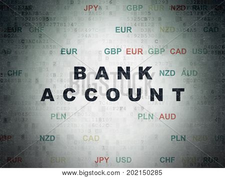 Banking concept: Painted black text Bank Account on Digital Data Paper background with Currency