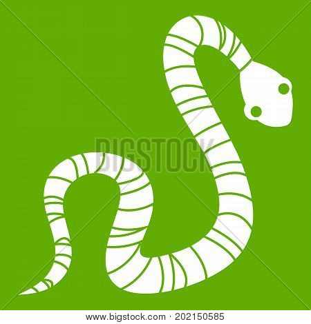 Striped snake icon white isolated on green background. Vector illustration