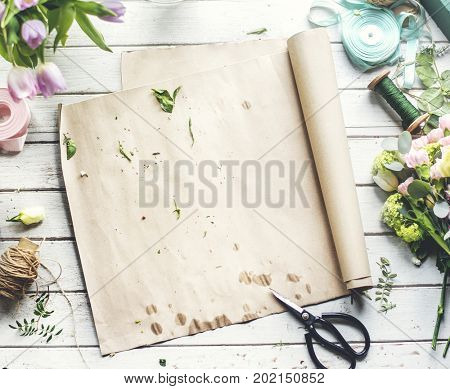 Design Space Empty Paper with Flowers Decoration