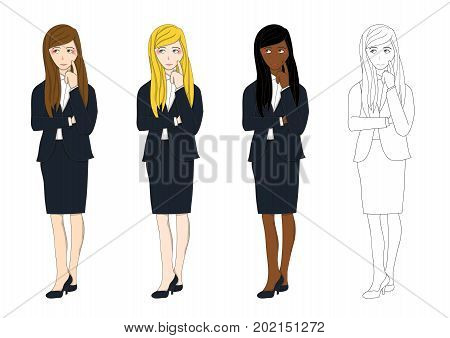 Set Cute Business Woman Thinking to Make Decision. Full Body Vector Illustration. isolated on White Background