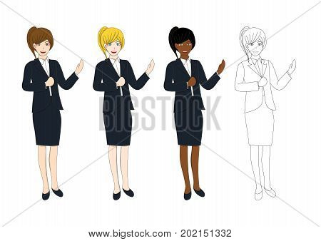 Set Cute Business Woman Presentation with Hand Pointing. Full Body Vector Illustration isolated on White Background