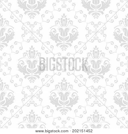 Classic seamless vector pattern. Traditional orient light silver ornament. Classic vintage background
