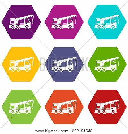 Truck mounted crane icon set many color hexahedron isolated on white vector illustration