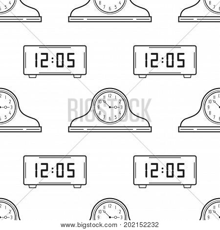 Electronic watch and mantel clocks. Black and white seamless pattern for coloring books, pages. Vector illustration.